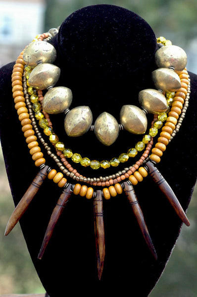 Tribal Brown, Amber, Gold and African Brass Fringe Statement Necklace