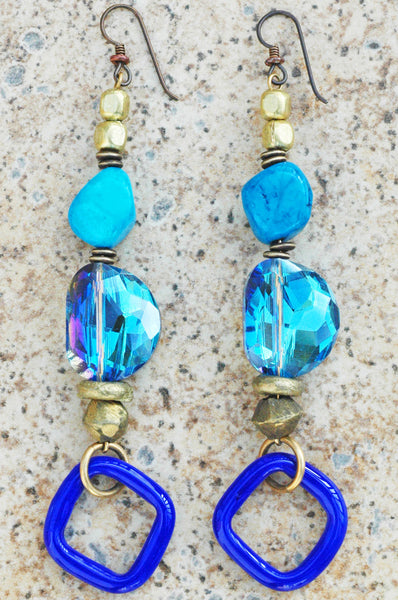 Lavish Turquoise, Shimmer Blue Glass, Brass and Cobalt Dangle Earrings