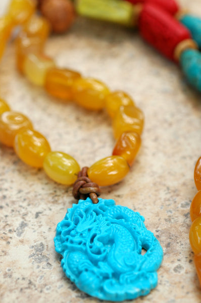 Asian-Inspired Long Yellow Agate and Turquoise Dragon Pendant Necklace