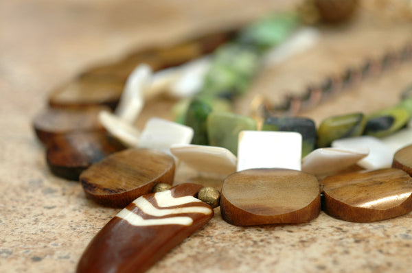 Earthy Green, White & Brown Multiple Strand Arrowhead Pendant Necklace