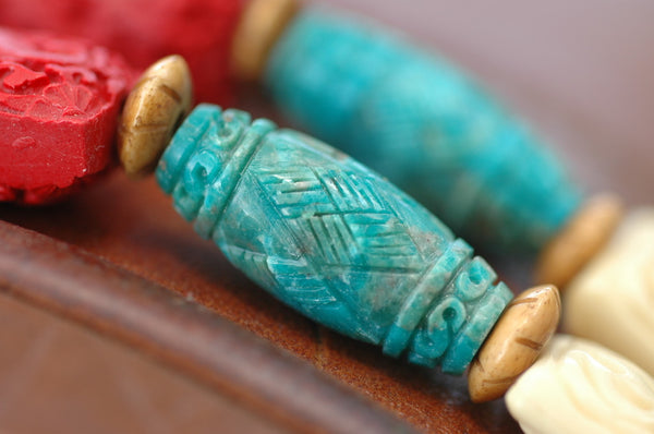 gorgeous and rare carved turquoise tube beads