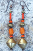 Orange Coral, Glass and African Brass Tribal Statement Earrings