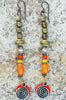 Orange Glass and African Brass Mixed Media Boho Spiral Dangle Earrings