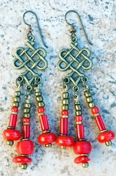 Red Coral, Glass and Bronze Chandelier Dangle Statement Earrings