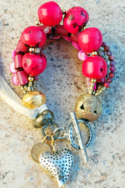 Artisan Multi-Strand Pink, Purple and Silver Heart Charm Bracelet