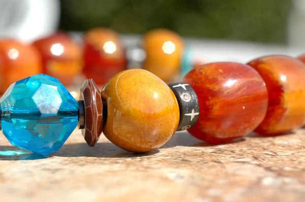 Tibetan-Inspired Amber, Yellow and Carved Jade Stone Pendant Necklace