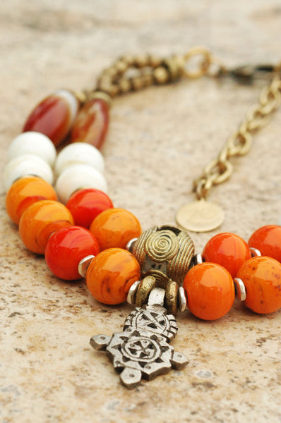 Orange & White Venetian Glass, Agate and African Brass Cross Necklace