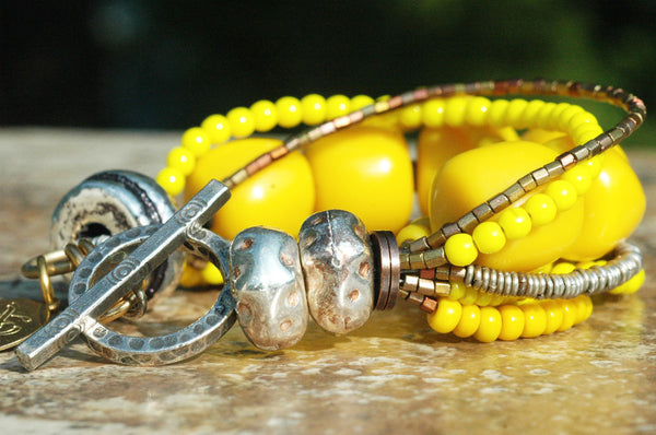 Yellow, Silver and Copper Multi-Strand Statement Bracelet
