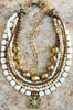 Multi-Strand White Bone, Bronze and Ashanti Shield Statement Necklace