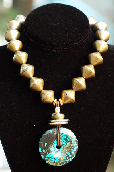 African Brass, Leather and Turquoise Donut Pendant Necklace