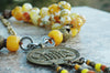 Faceted Yellow Agate and African Brass Disc Tassel Statement Necklace