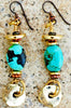 Turquoise, Copper and Gold Coin Dangle Artisan Earrings