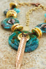 Bold and Exotic Turquoise, Gold and Copper Disc Pendant Necklace