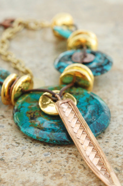 bold tribal turquoise pendant necklace