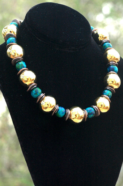 Aegean Blue, Bronze, Copper and Gold Ball Statement Necklace