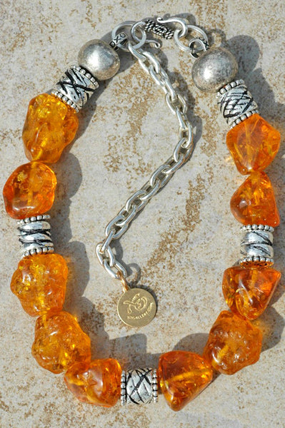 Chunky Amber Resin and Exotic Antiqued Silver Choker Necklace