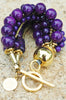 Stunning Bold Purple and Gold Multi-Strand Statement Bracelet