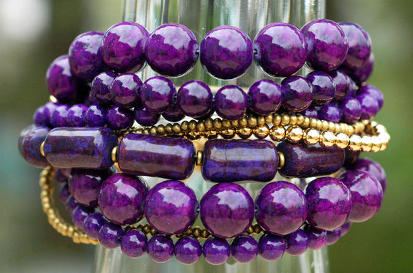 Stunning Purple and Gold Multi-Strand Statement Bracelet