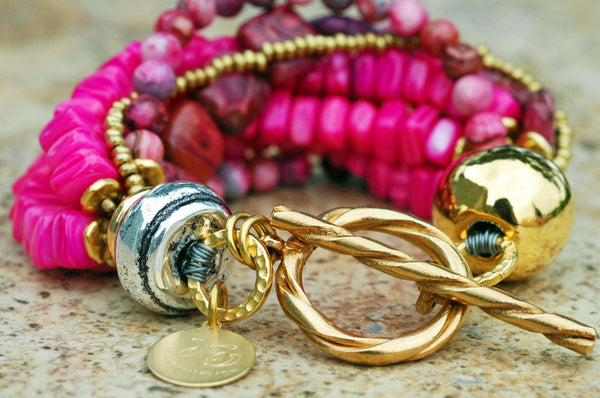 Stunning Hot Pink Shell, Crazy Lace Agate and Gold Statement Bracelet