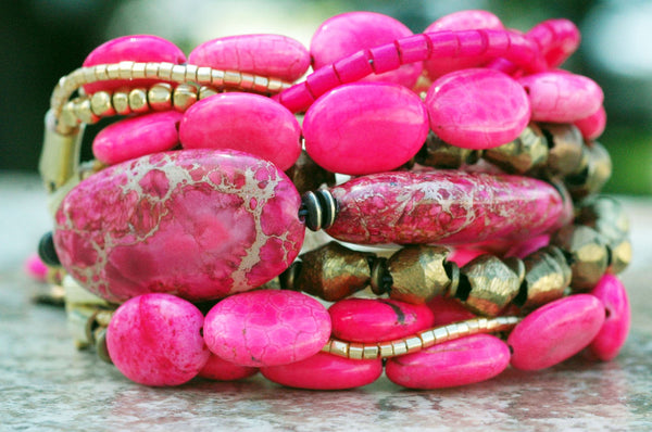 Exotic Pink Turquoise and Gold Multi-Strand Cuff Statement Bracelet