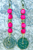 Exotic Hot Pink, Gold & Bronze Disc Long Boho Chic Statement Earrings