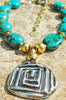 Stunning Turquoise, Gold and Silver Meandros Medallion Necklace