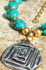 Stunning Turquoise Stone, Gold and Silver Medallion Statement Necklace