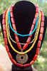 Long Amber, Turquoise, Yellow & Bronze Medallion Statement Necklace