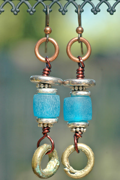 Blue Resin, Silver, Copper and African Brass Ring Earrings