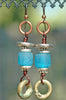 Blue Resin, Silver, Copper Wire and African Brass Ring Tribal Earrings