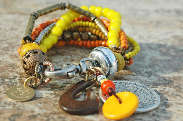 Tribal Orange, Yellow, Glass, Horn and Mixed Metals Charm Bracelet