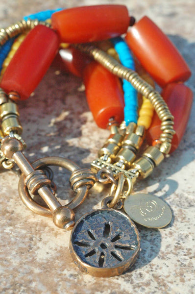 Amber Resin, Turquoise, Yellow, Brass and Bronze Sun Charm Bracelet