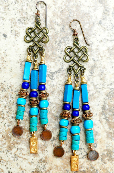 Blue, Turquoise, Copper and Gold Chandelier Statement Earrings