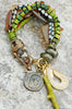 Exotic Amber, Green Coral, Rust Wood, Batik Bone & Coin Charm Bracelet