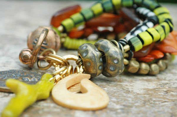 Exotic Amber, Green, Wood, Bone, Brass and Mixed Media Charm Bracelet