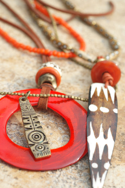 Island Style Leather and Orange Shell Hoop Bohemian Statement Necklace