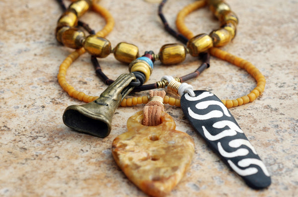 Tribal-Inspired Amber, Brass, Gold and Black Multiple Strand Pendant Necklace