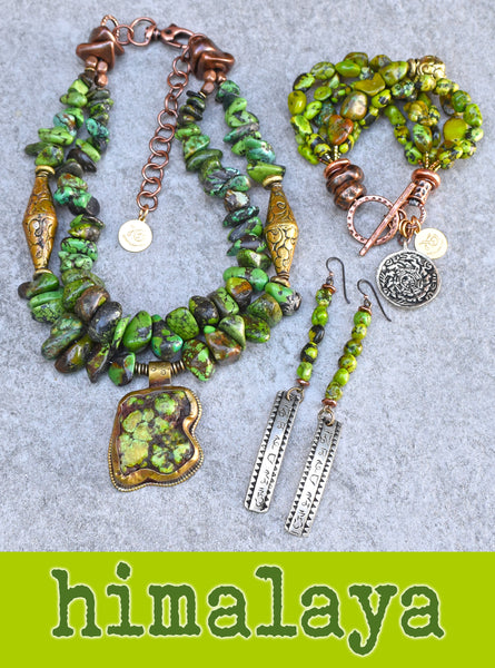Riveting Lush Green Turquoise, Copper and Tibetan Brass Statement Jewelry Collection