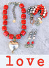Bold Vibrant Gorgeous Red Bamboo Coral, Gray Pearl and Silver Heart Statement Jewelry Collection