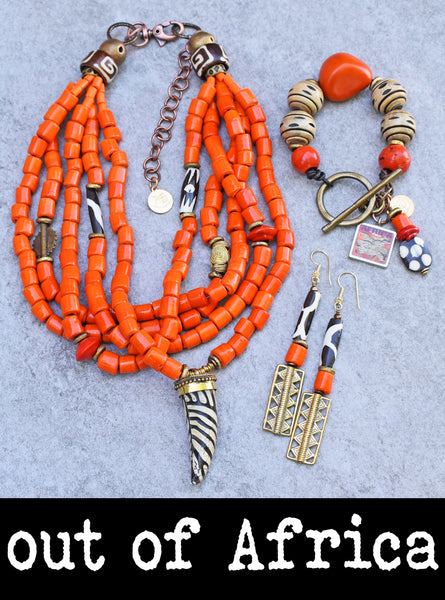 African Inspired Bold Orange, Brass and Animal Print Statement Jewelry