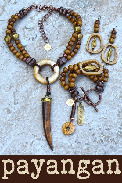 Exotic Island Tribal Natural Bone, Brass and Batik Brown Horn Jewelry Collection