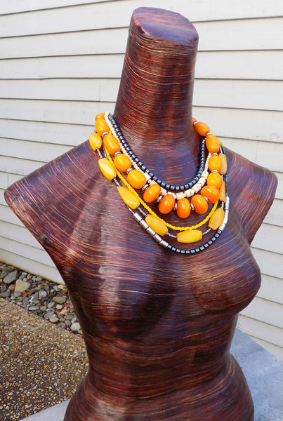 Bold & Dramatic Orange, Yellow, Charcoal and Silver Statement Necklace