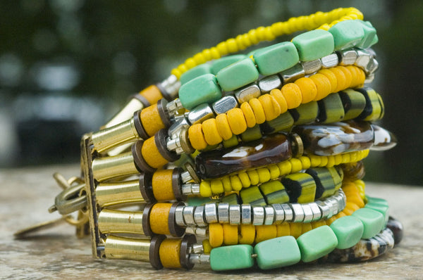 Tortoise Shell, Yellow, Green and Silver Boho Cuff Statement Bracelet