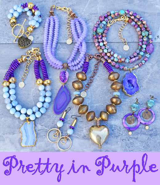 pretty in purple periwinkle, purple, lavender, gold heart jewelry collection