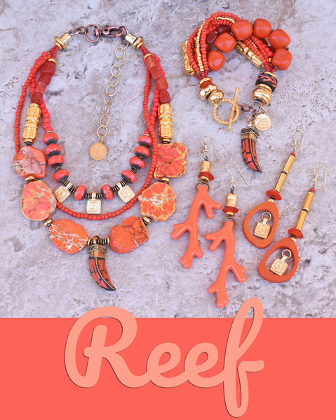 gorgeous orange coral and gold statement jewelry beach jewelry, resort jewelry