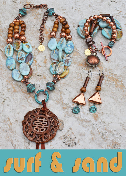 ocean inspired aqua blue terra agate, brown bone and copper surf and sand jewelry collection
