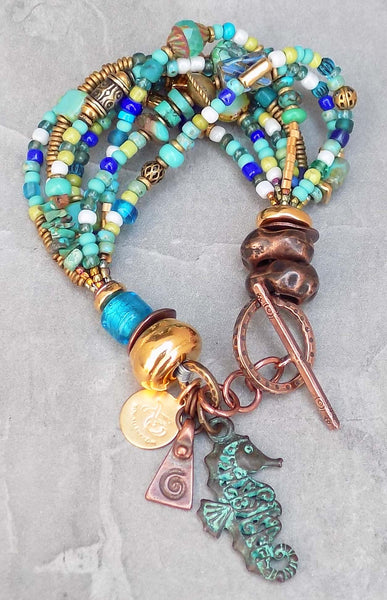 Gorgeous Turquoise, Blue Glass, Gold & Copper Seahorse Charm Bracelet