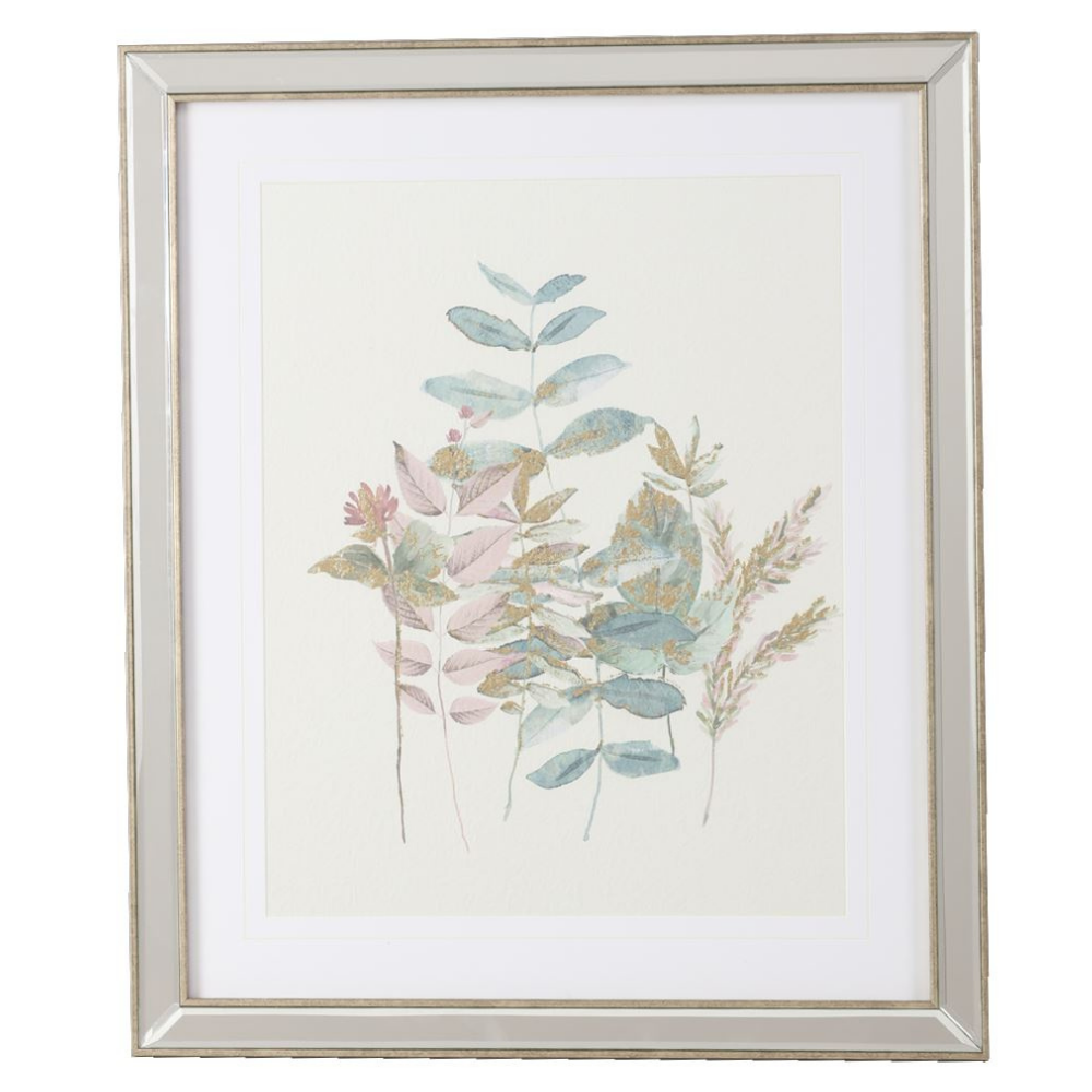 Wild Flower With Gold Leave in Mirrored Frame, A