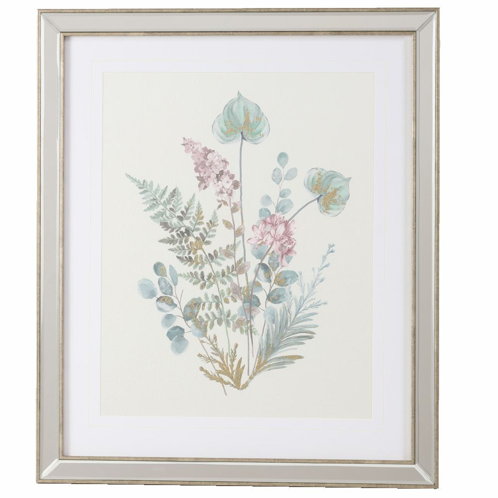 Wild Flower With Gold Leave in Mirrored Frame, B