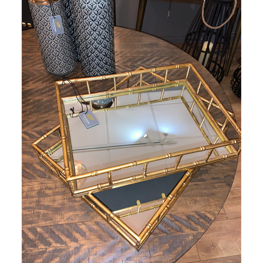 Large Gold Rectangular Mirrored Tray